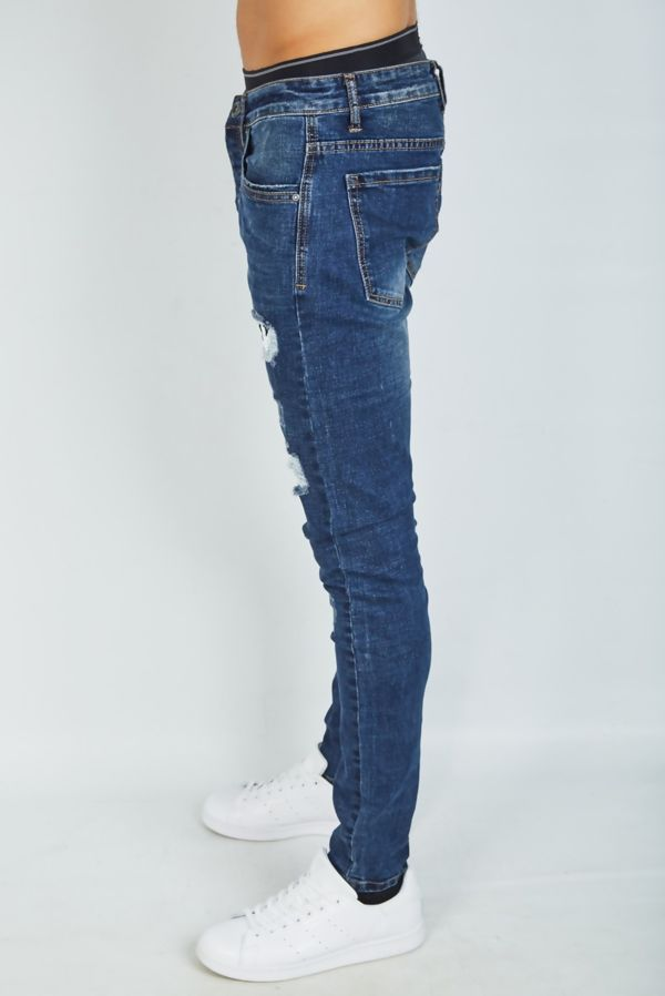 Dark Denim Patched Distressed Skinny Jeans