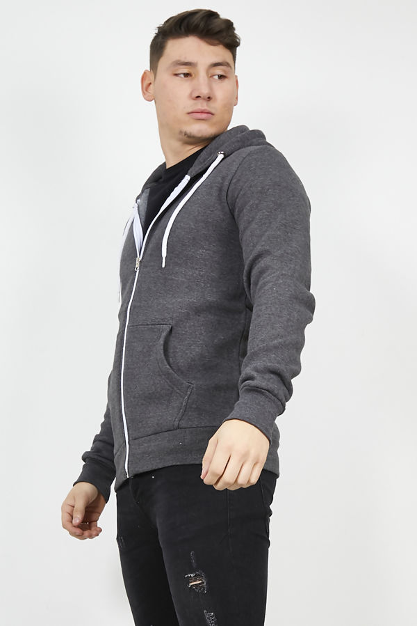 Dark Grey Plain American Fleece Zip Up Hoody Jacket