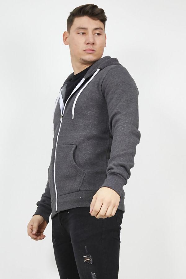 Charcoal Plain American Fleece Zip Up Hoody Jacket-Copy