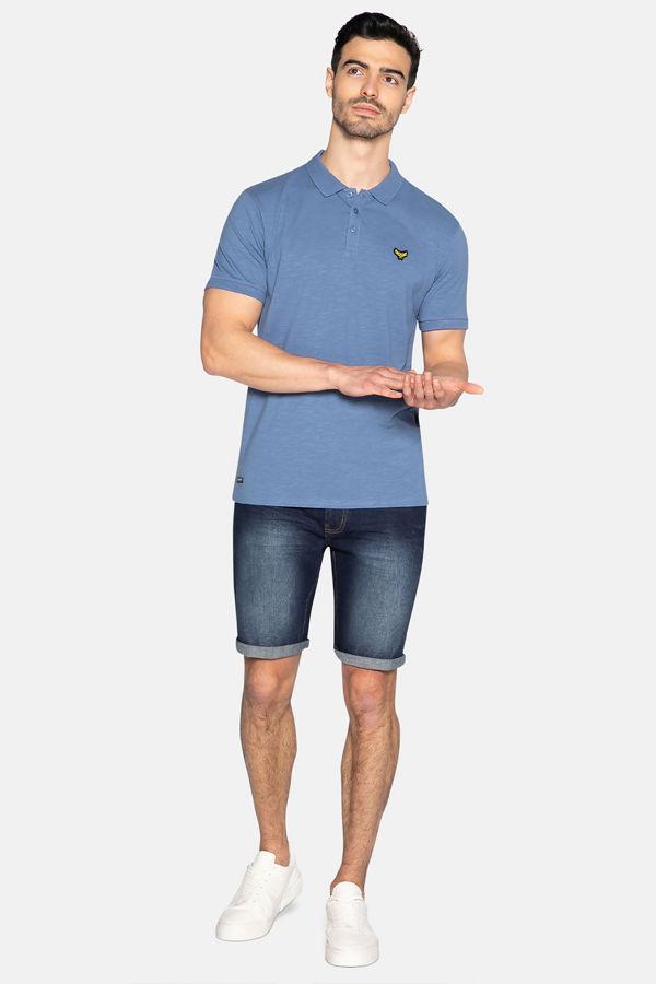 Denim Blue Henry Cotton Short Sleeve Polo Shirt