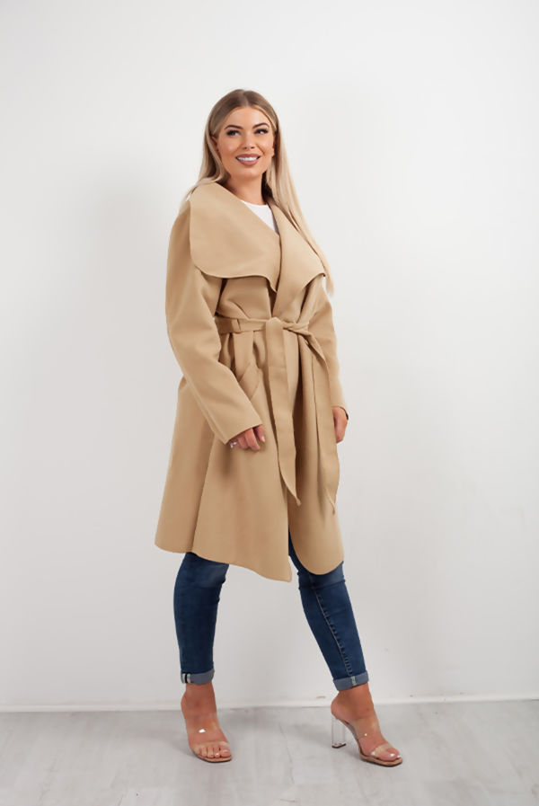 Double Plus Size Camel Waterfall Drapped Duster Coat