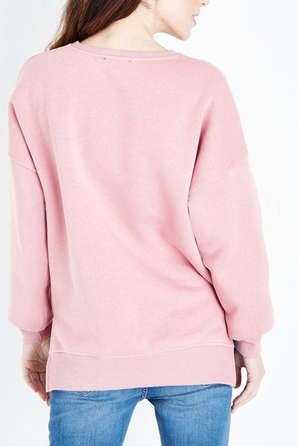 Dusky Pink Side Split Longline Jumper
