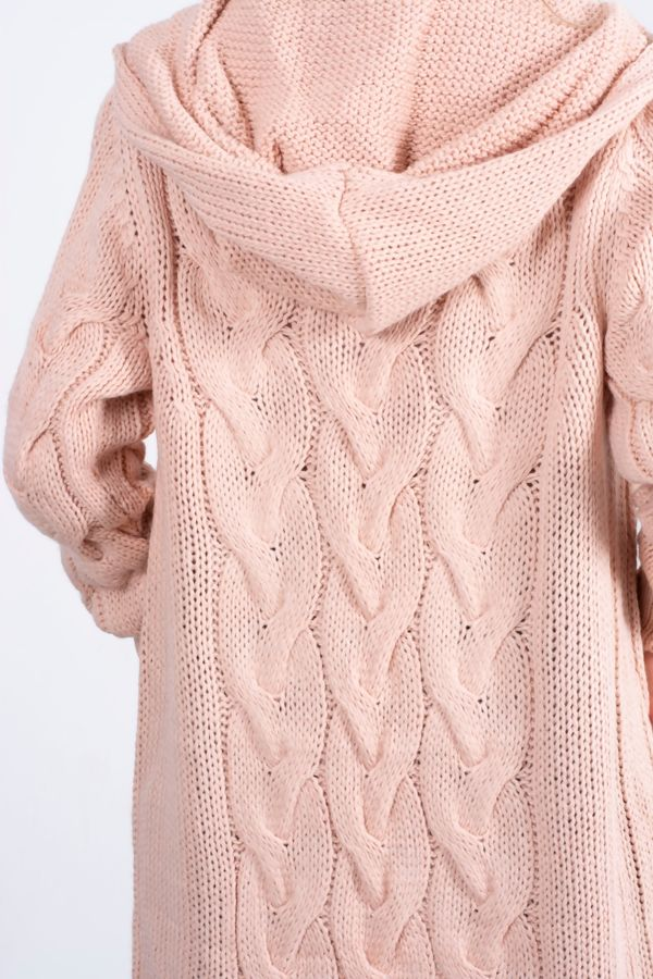 Dusty Cable Knit Hood Cardigan