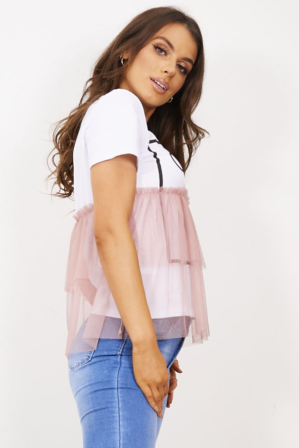 Dusty Pink Coco Wahine Mesh Overlay T-Shirt Top
