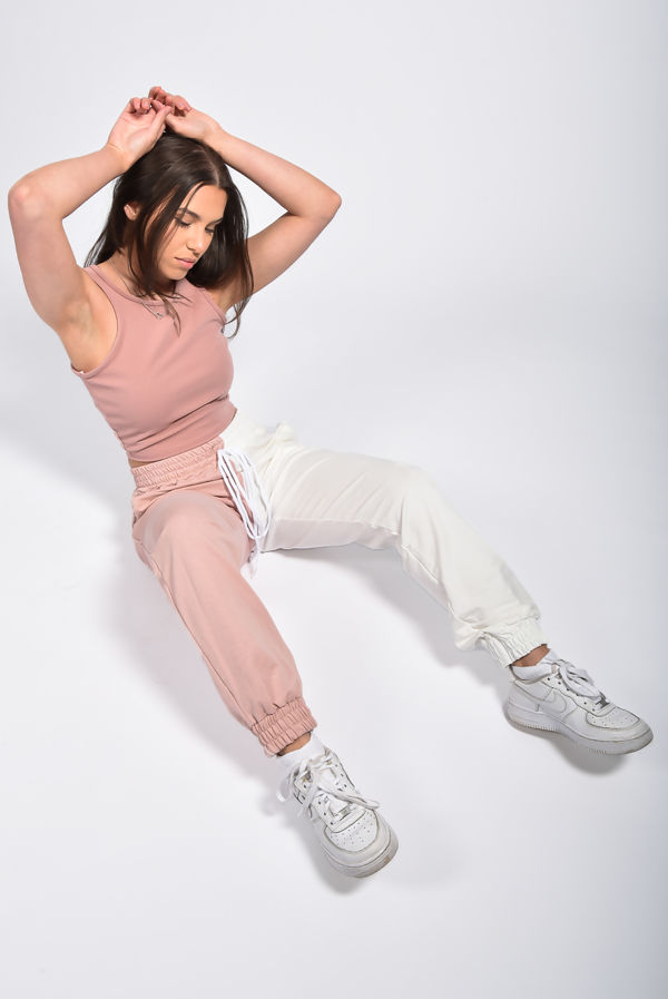 Dusty Pink Two Tone Drawstring Joggers