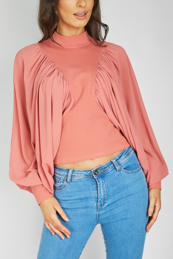 Dusty Ruched Dolman Top