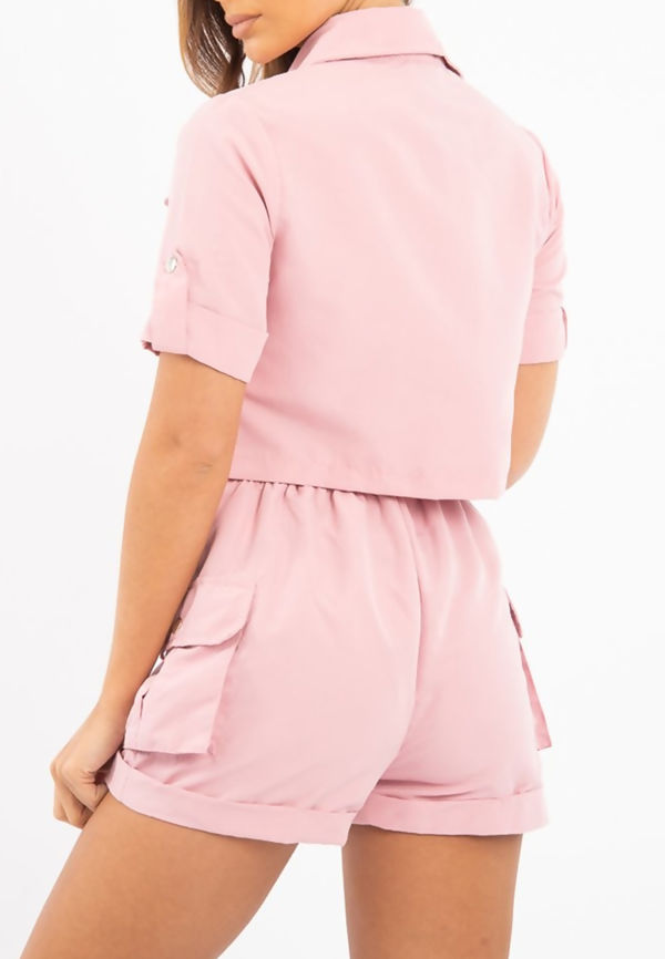 Dusty Utility Pockets Crop Top and Short Co-ord Set