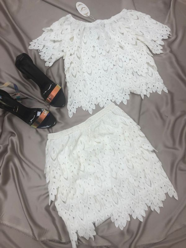 White Off Shoulder Lace Crop Top With Skirt Set