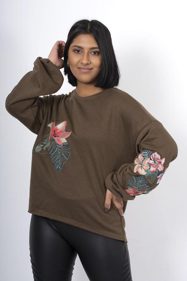 Grey Oversized Embroidered Puff Sleeve Sweatshirt