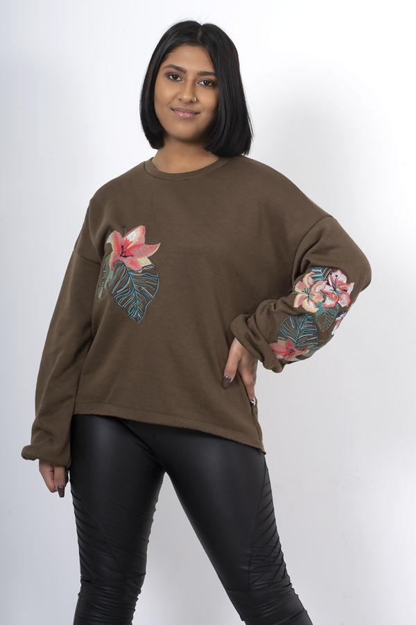 Navy Oversized Embroidered Puff Sleeve Sweatshirt