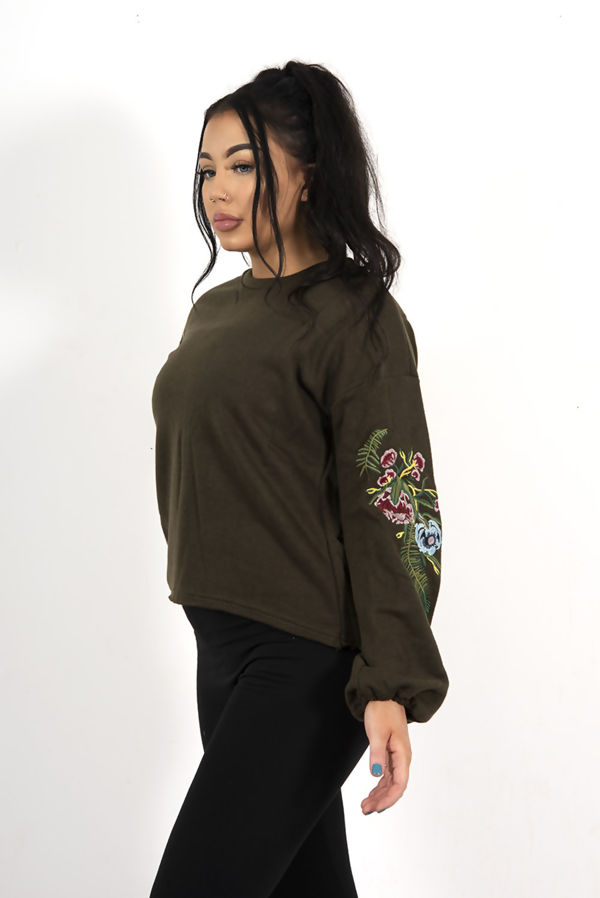 Black Oversized Floral Embroidered Sweatshirt