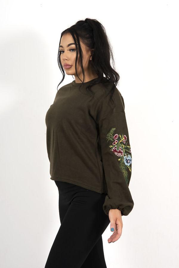 Wine Oversized Floral Embroidered Sweatshirt