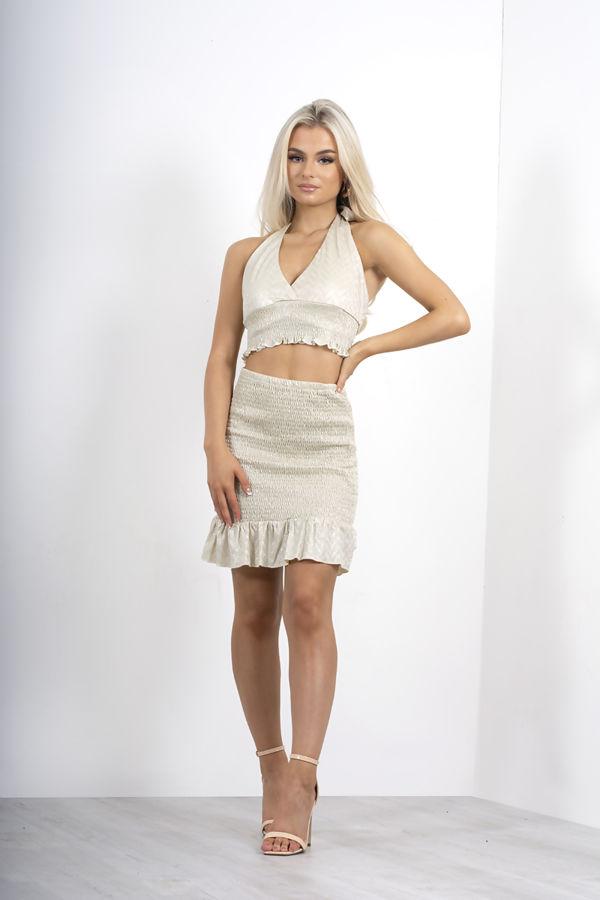 Nude Metallic Shirred Frill Hem Skirt
