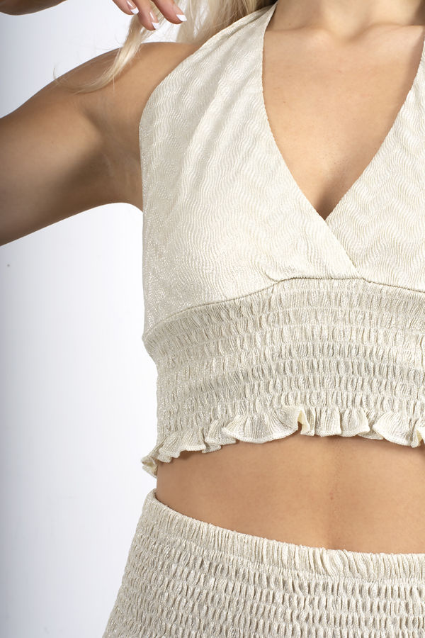 Nude Metallic Tied Open Back Shirred Halter Top