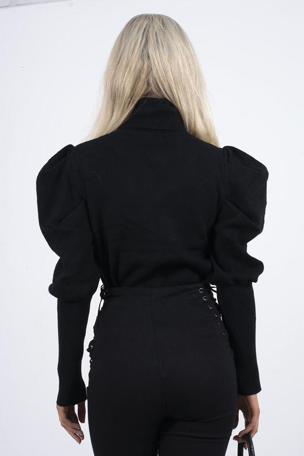 Black Puff Sleeve Roll Neck Jumper
