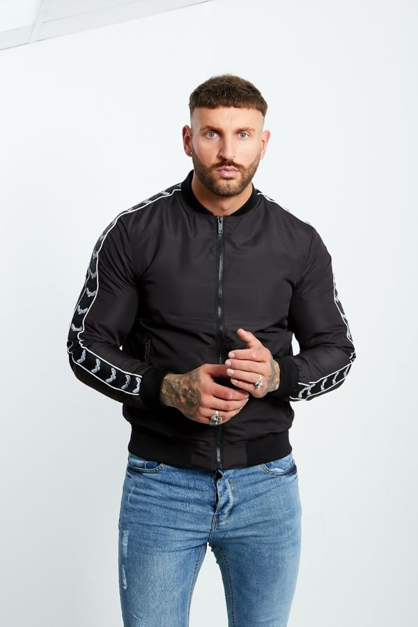Eagle Sleeve Black Bomber Jacket