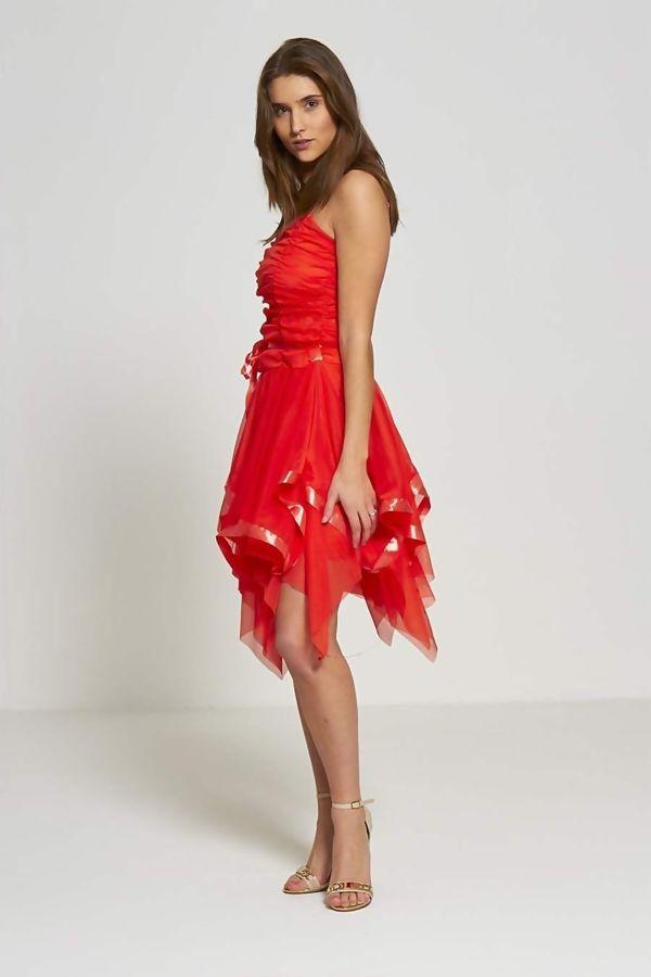 Brown Evening Prom Midi Dress