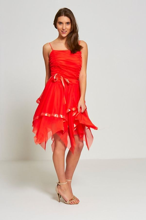 Orange Evening Prom Midi Dress