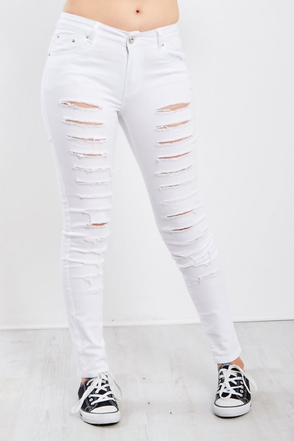 Extreme Ripped Super Skinny White Jeans