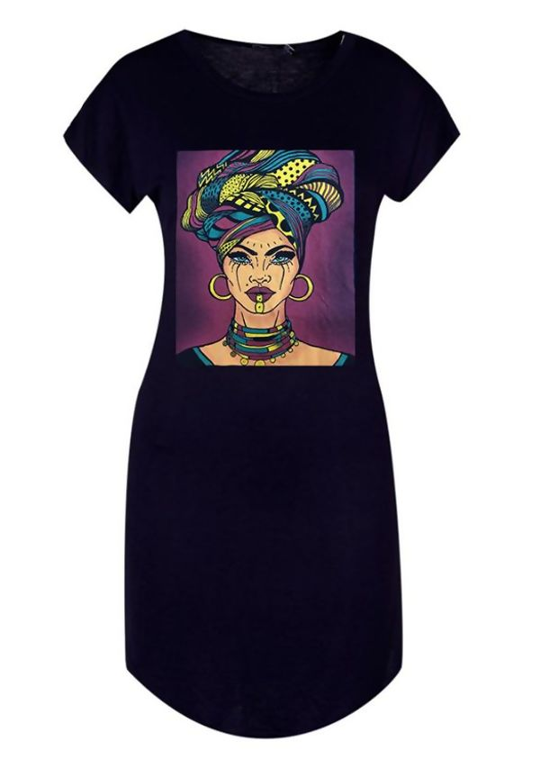 Wine Plus Face Print Midi T-Shirt Dress