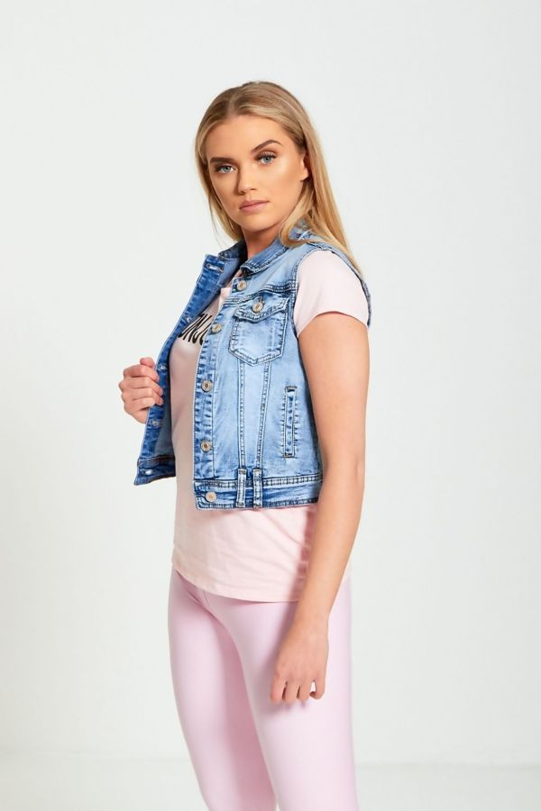Faded Denim Crop Jacket