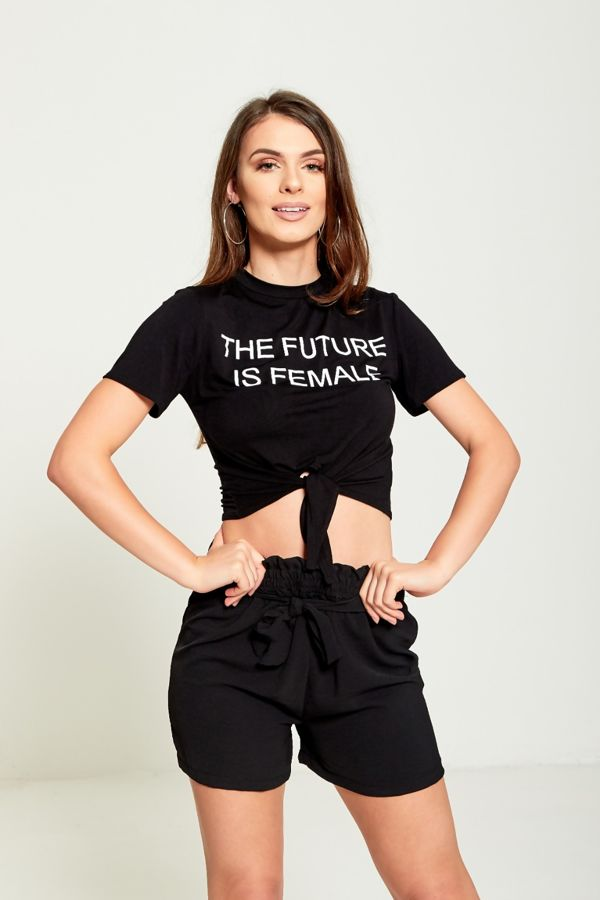 f73f9104c05 The Future Is Female Tie Knot Crop Black T-Top