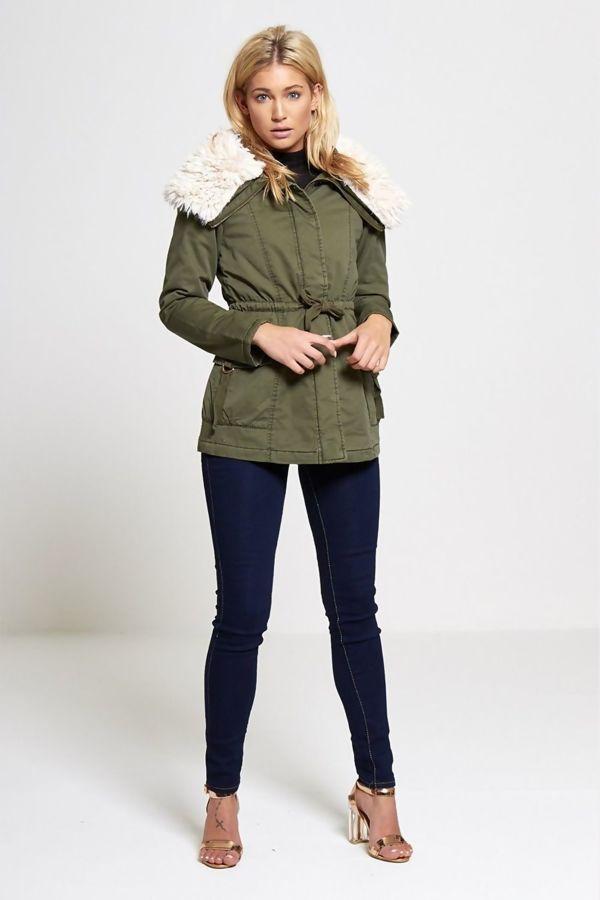 Faux Fur Collared Khaki Parka Coat