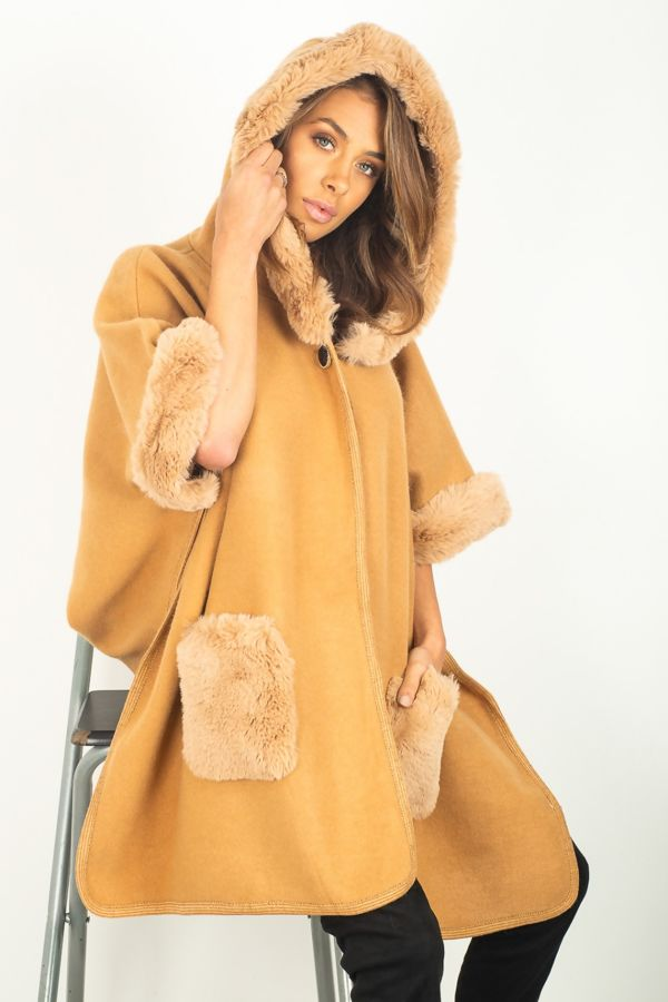 Faux Fur Detailed Hooded Cape