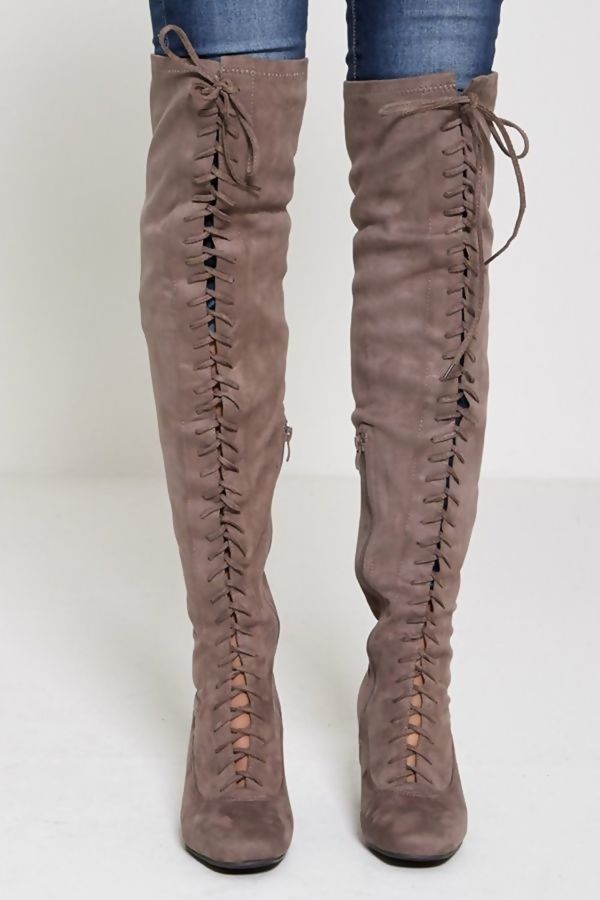 Faux Suede Lace Up Over the Knee Boots