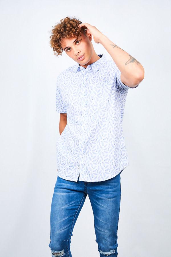 Feather Print Short Sleeve Shirt