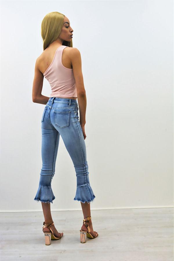 Flare Frill Light Denim Cropped Skinny Jeans