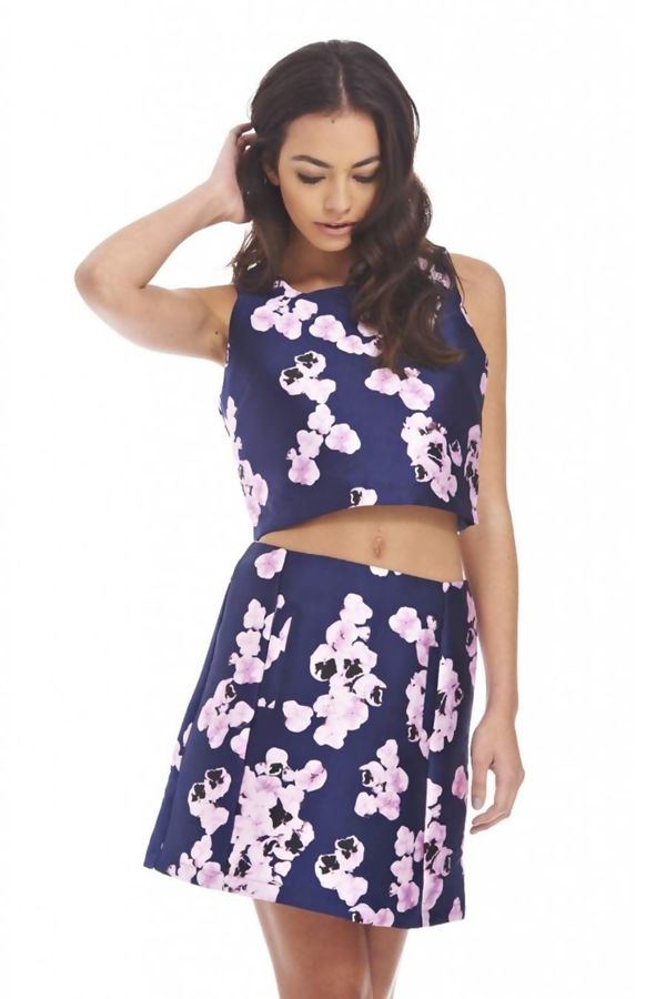 Floral Crop Top And Skirt Co-Ord Set