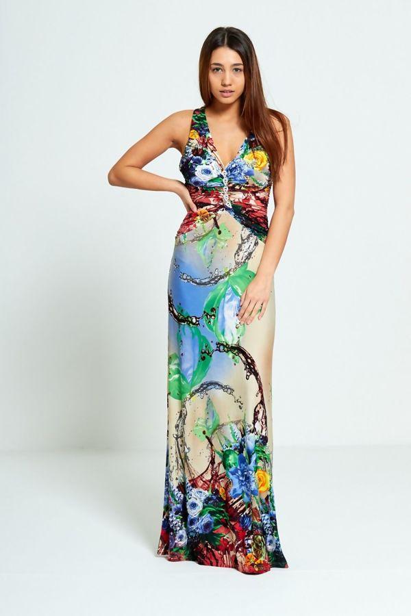 Floral Pattern Diamante Jewel Maxi Dress
