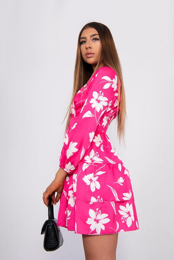Floral Plunge Split Sleeve Tiered Dress