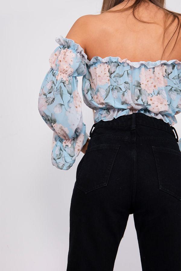 Floral Print Off Shoulder Bardot Top