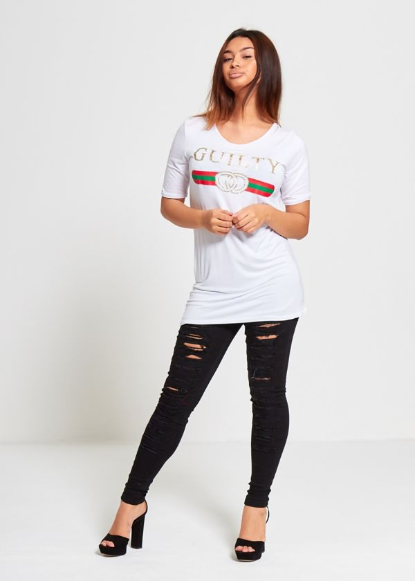Plus Size White Guilty T-Top