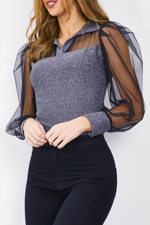 Flounce Glitter Bodysuit