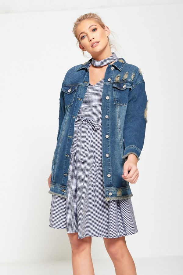 Fray Hem Longline Denim Jacket