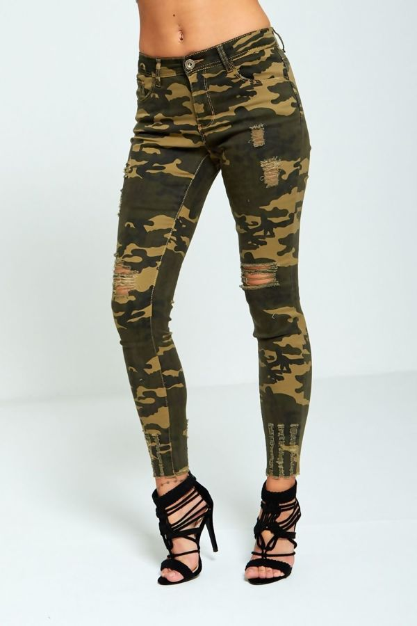 Frayed Camo Skinny Jeans
