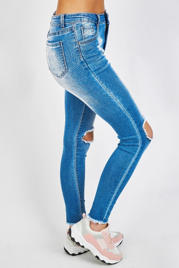 Frayed Knee Ripped Skinny Fit Jeans