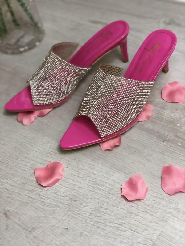 Fuchsia Diamante Pointed Toe Heels