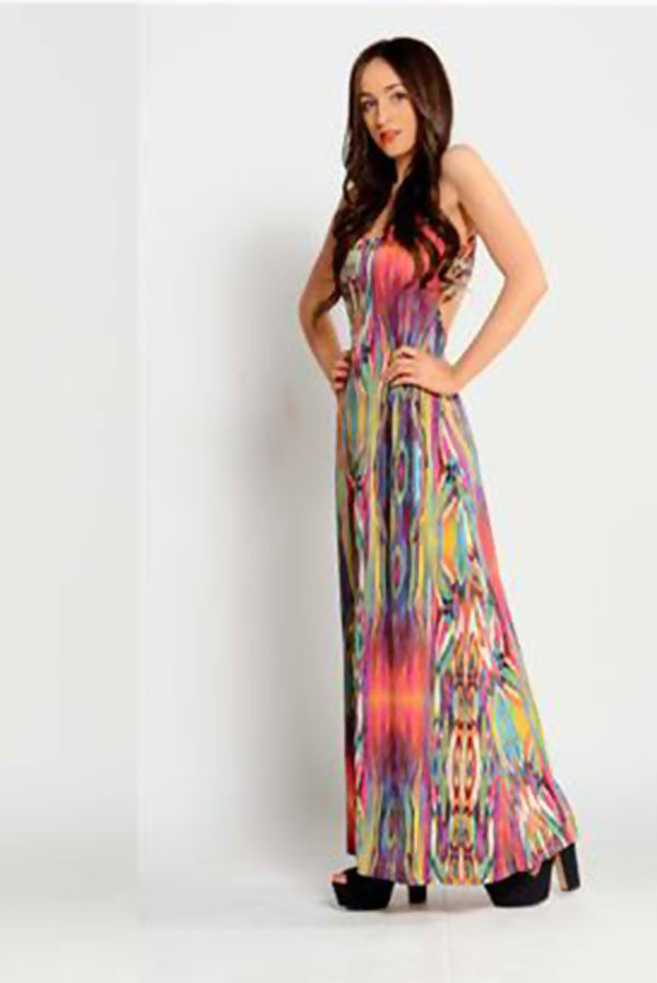 Fuchsia Multi-Colour Maxi Dress