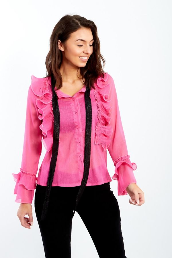 Fuchsia Sheer Ruffle Shirt