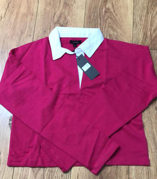 Fuchsia White Collar Polo Crop Top
