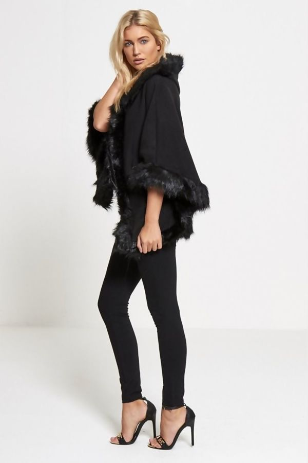 Fur Lined Hooded Cape