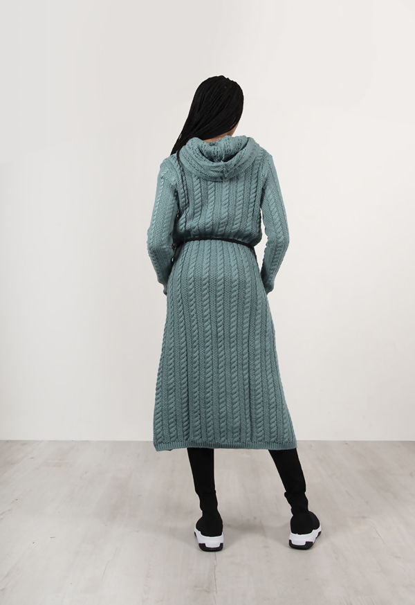 Apple Green Cable Knit Hooded Longline Cardigan With Belt