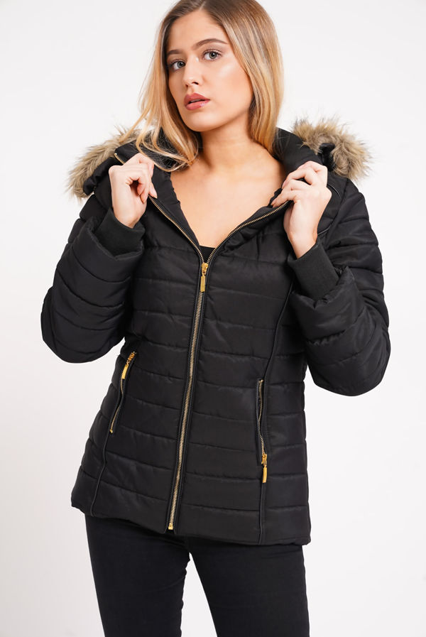 White Faux Fur Lined Hood Puffa Coat