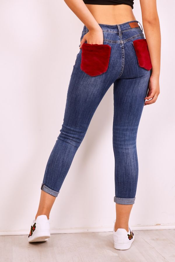 Faux Fur Pocket Skinny Jeans