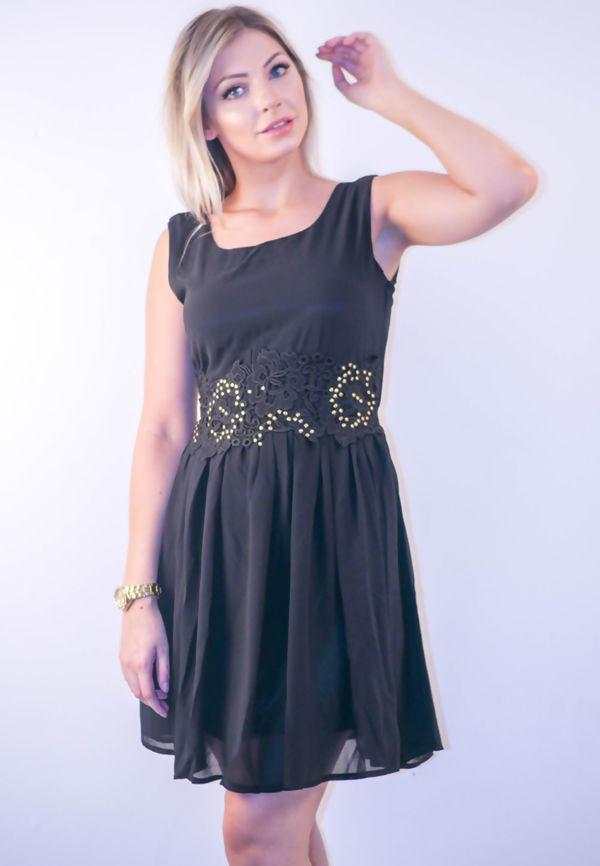 Cream  Floral Embroidered Waistline Skater Dress