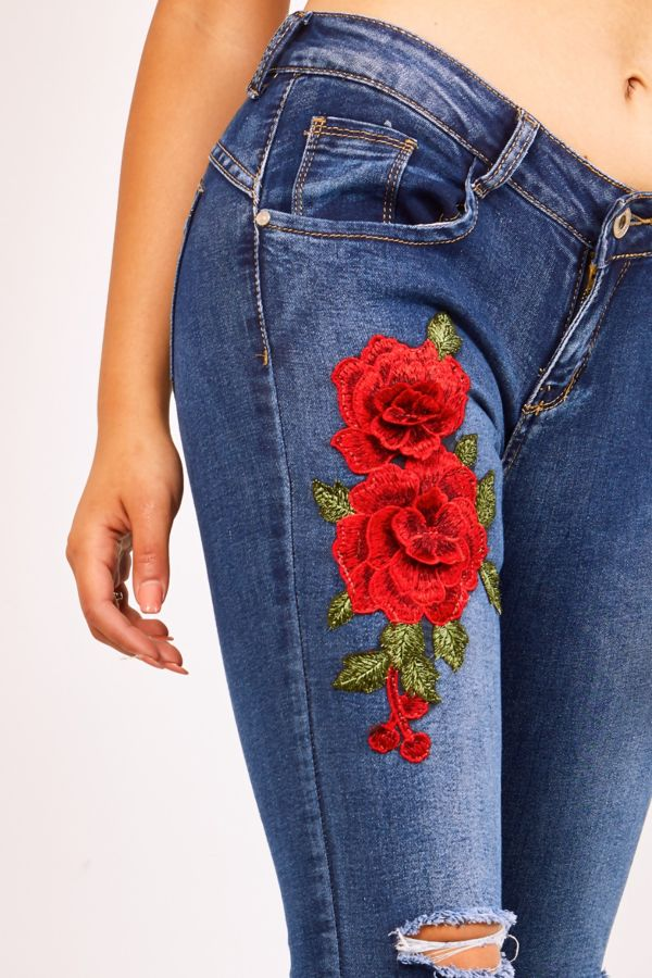 Floral Embroidery Ripped Knee Dark Denim Jeans